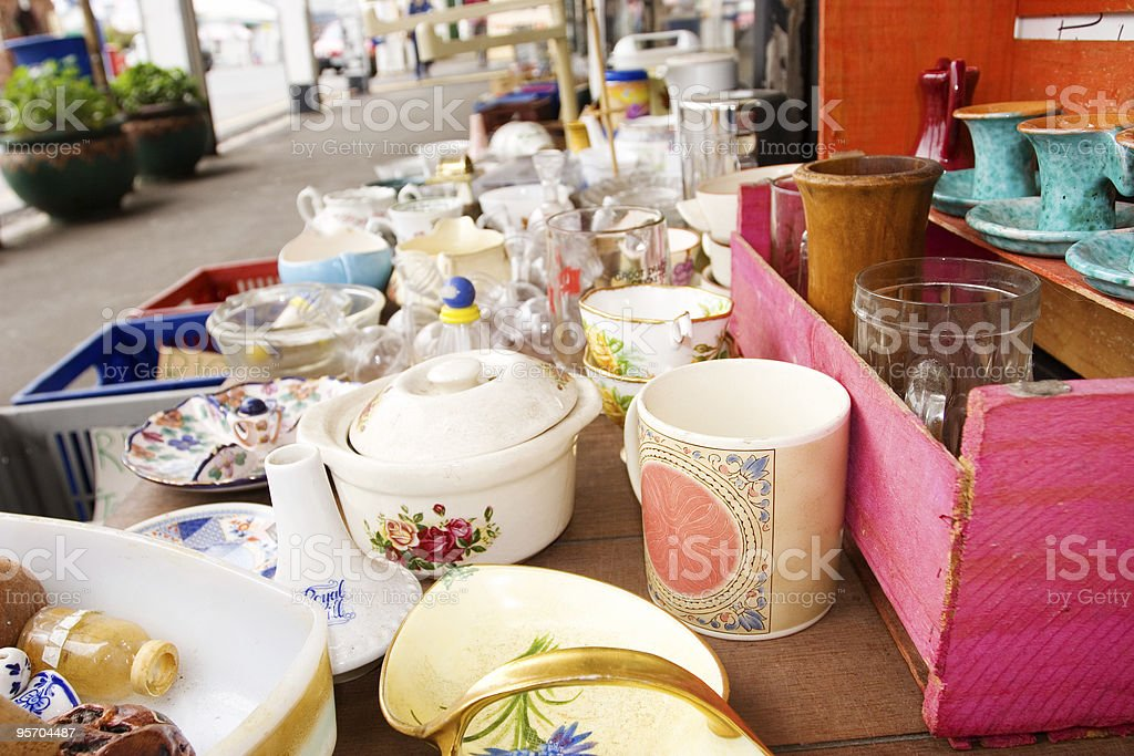 Antique market stock photo