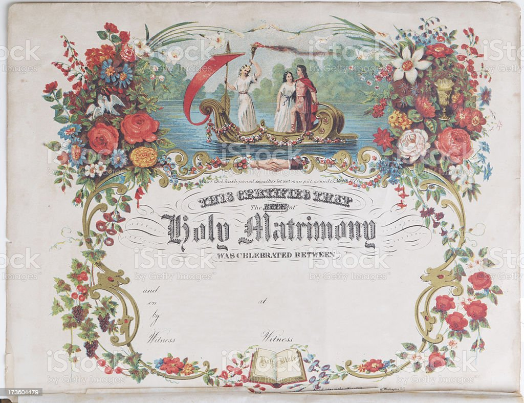 Antique Marriage Certificate royalty-free stock photo