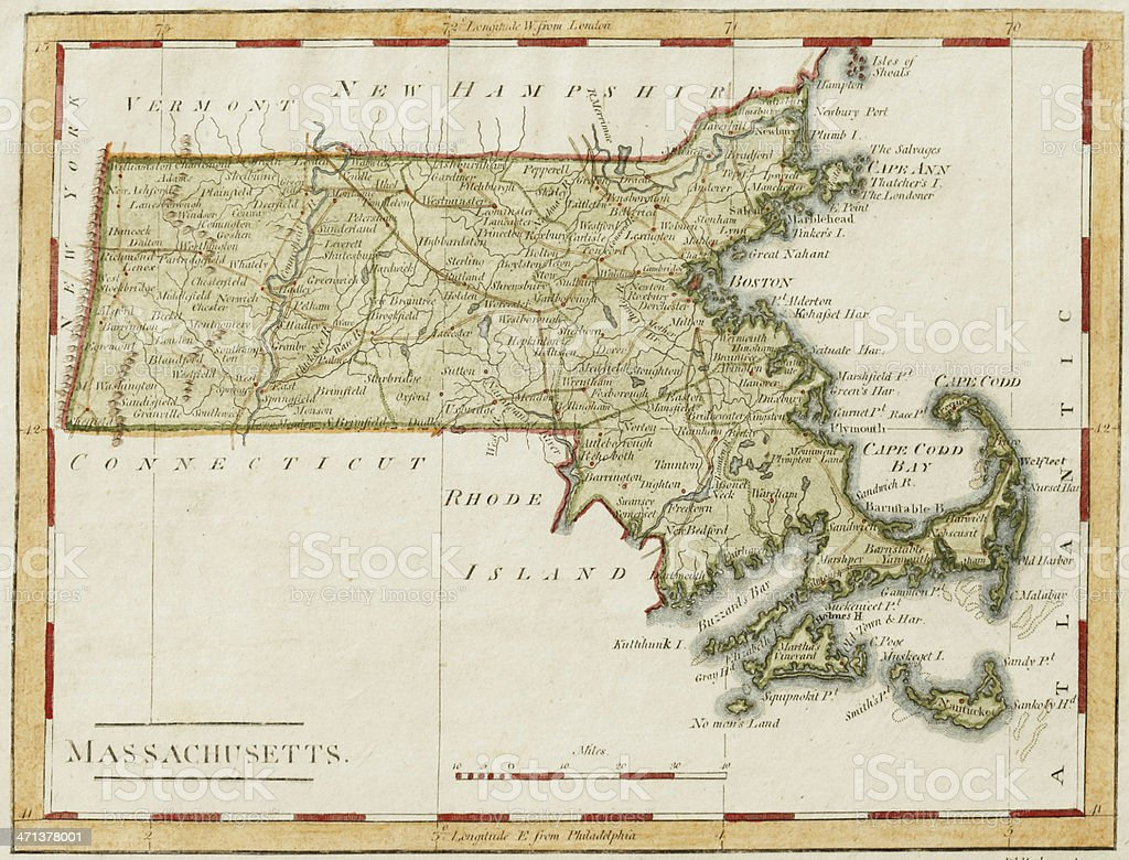 Antique Massachusetts Map stock photo
