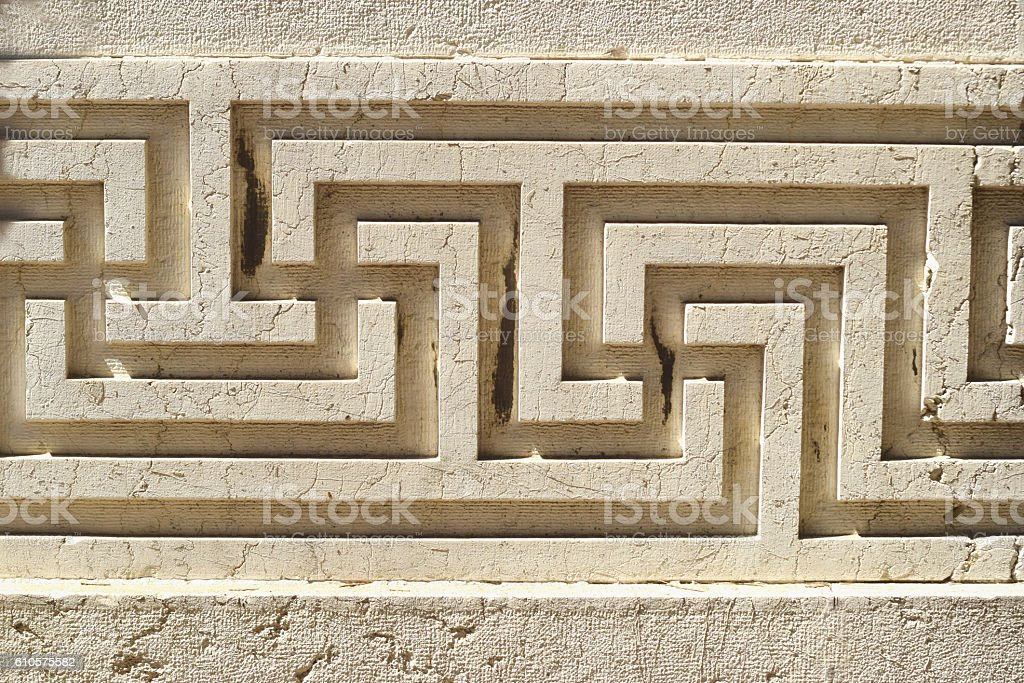 antique meander pattern stock photo
