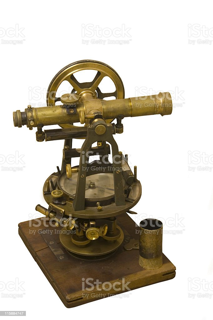 antique measuring instrument of surveying and alignment stock photo