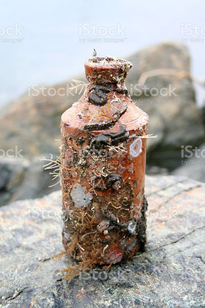 Antique medicine bottle stock photo