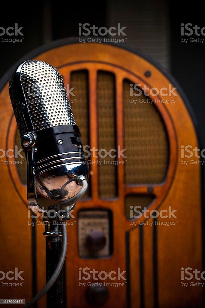 Antique Microphone and Radio stock photo