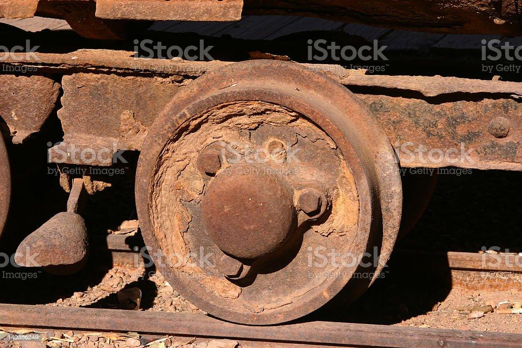 Antique Mining Car Wheel royalty-free stock photo