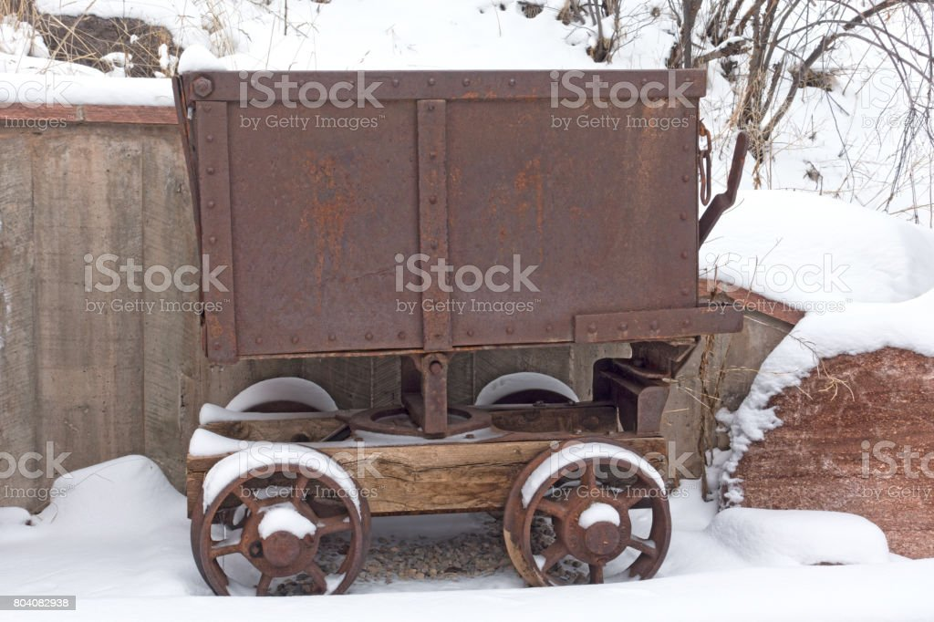 Antique Mining Cart in Colorado Rocky Mountains stock photo