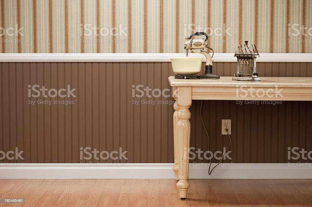 Antique Mixer And Toaster On Kitchen Table royalty-free stock photo