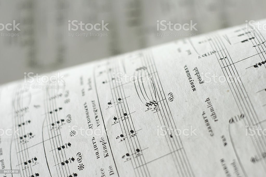 antique music sheets stock photo