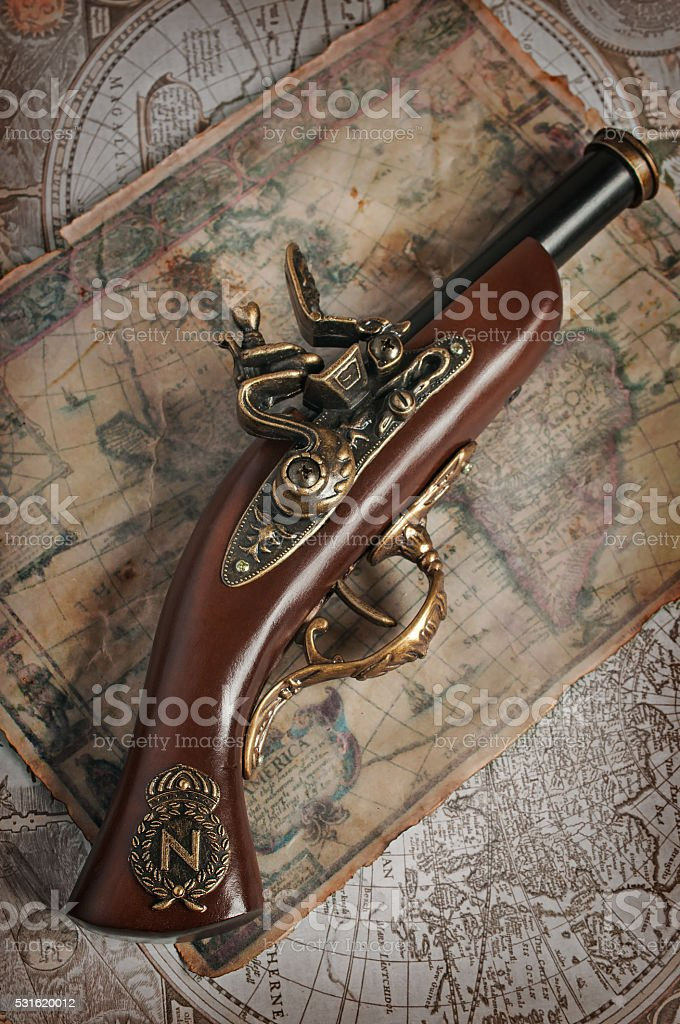 Antique musket or pistol stock photo