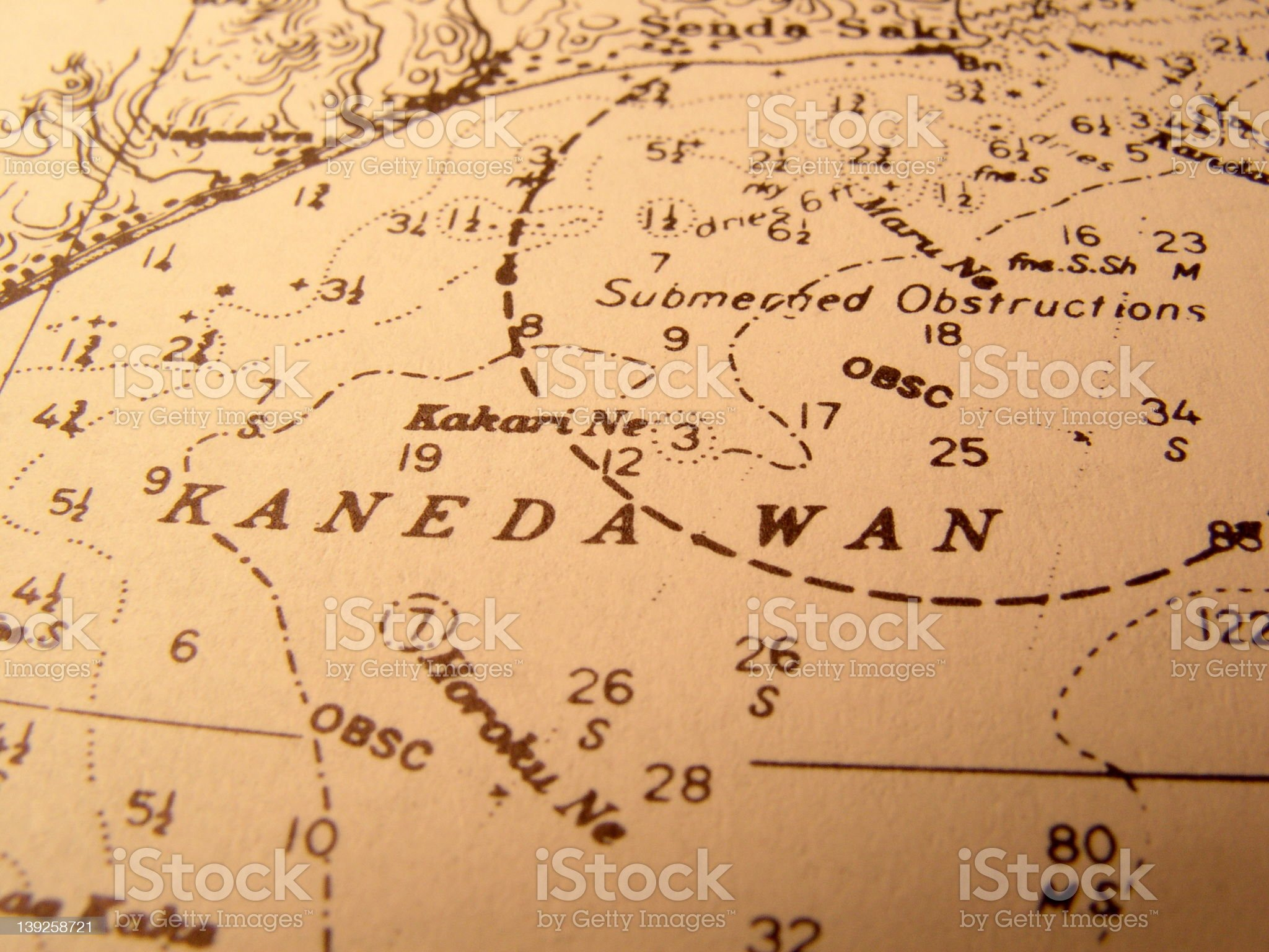 Antique Nautical Chart of Tokyo Bay royalty-free stock photo