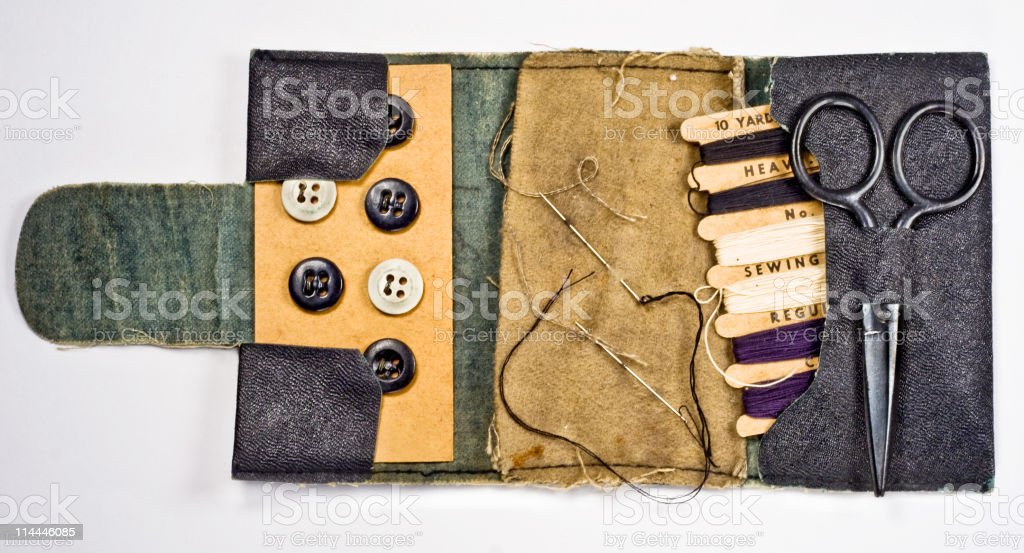 Antique Navy Sewing Kit stock photo