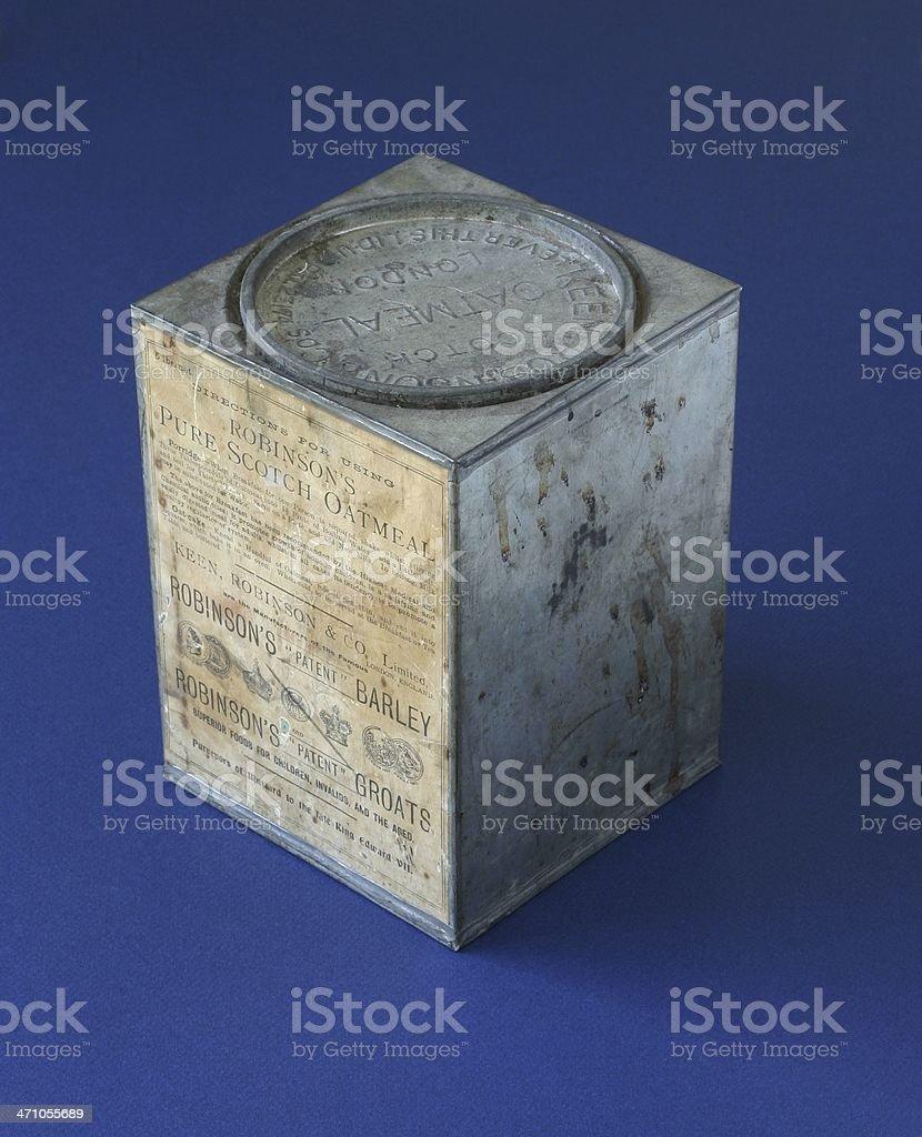 Antique Oatmeal Tin royalty-free stock photo