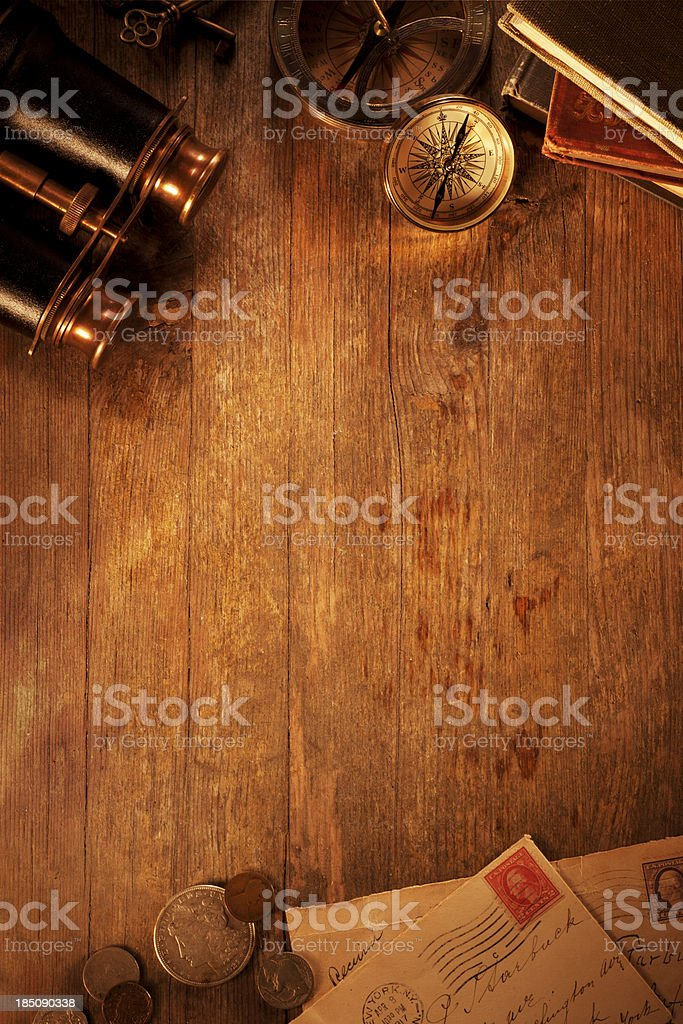 Antique objects on a Old Wooden Desk stock photo