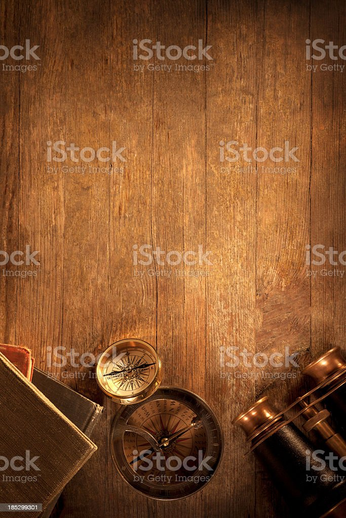 Antique Objects on a Wooden Desk stock photo