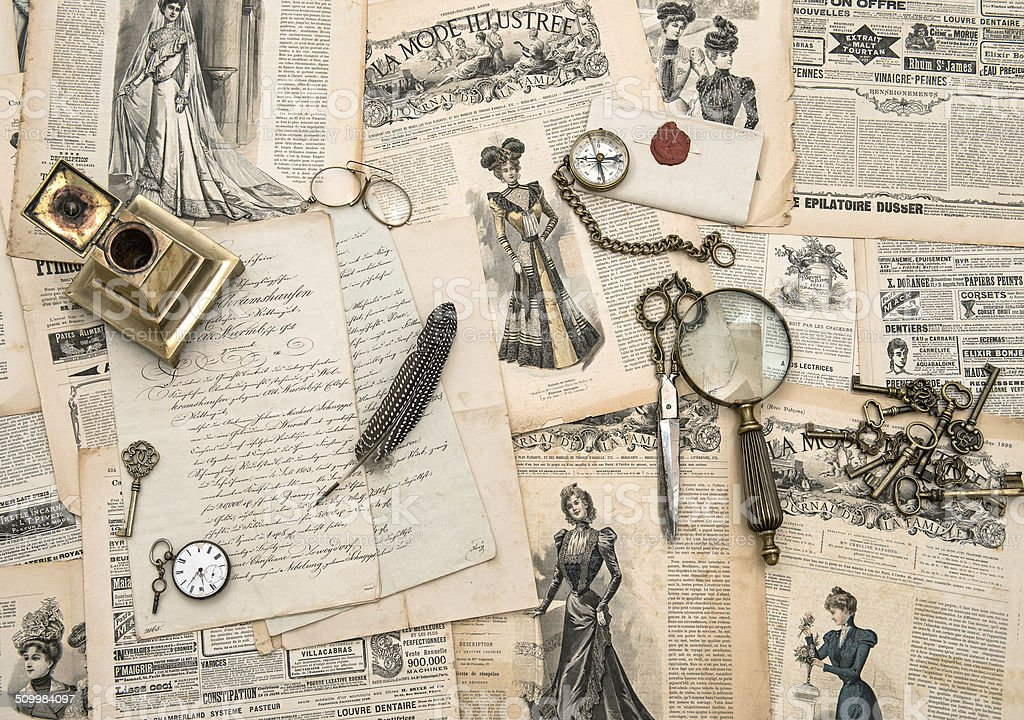 antique office accessories, writing tools, vintage fashion magazine stock photo
