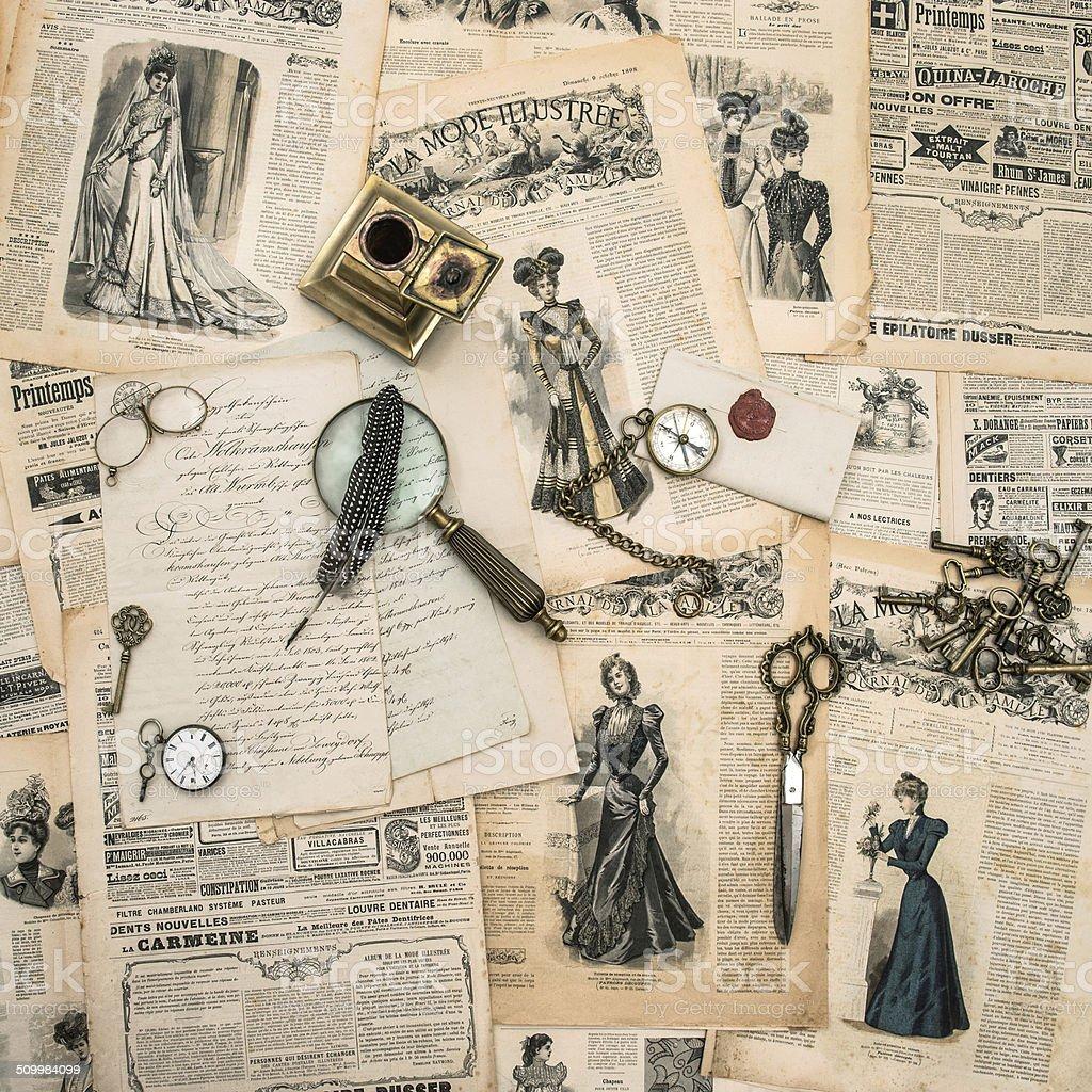 antique office supplies, writing tools, vintage fashion magazine stock photo