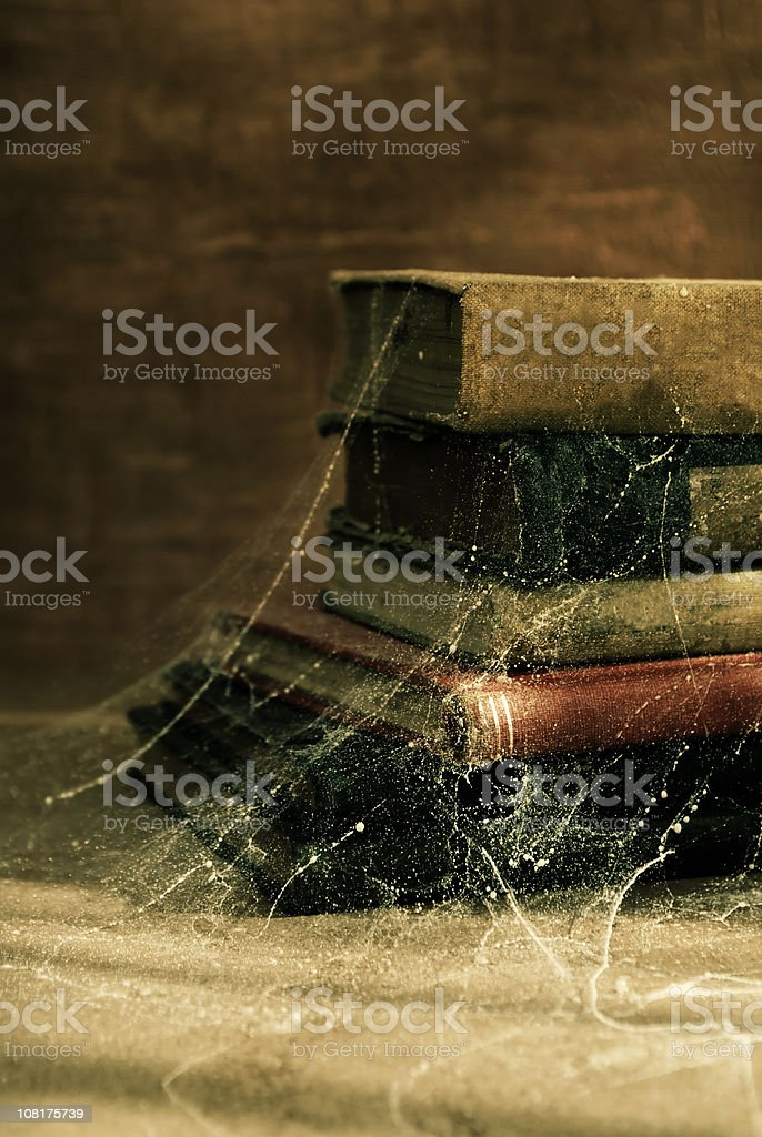 Antique Old Books Covered in Cobwebs royalty-free stock photo
