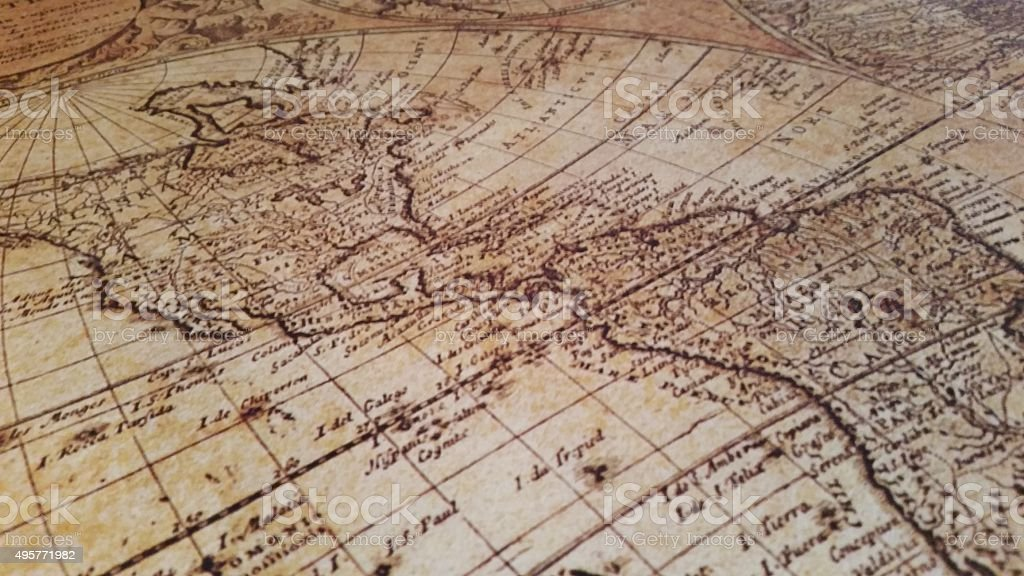 Antique Old Map Angled North and South America stock photo