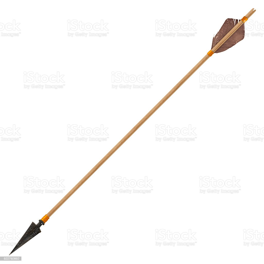 Antique old wooden arrow stock photo