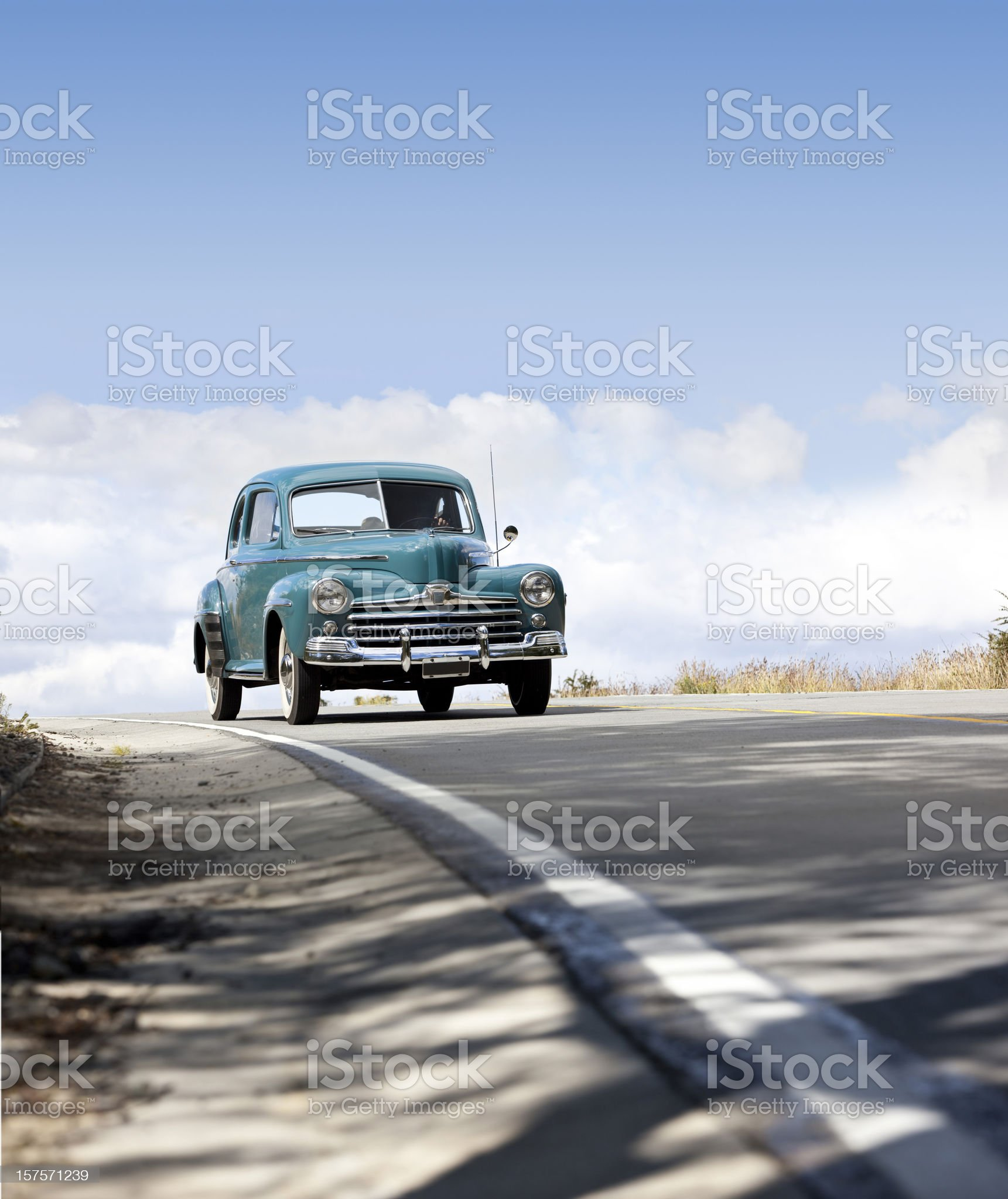 Antique oldtimer car driving in Patagonia Argentina royalty-free stock photo