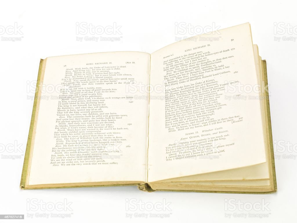 Antique original books of Shakespeares plays stock photo