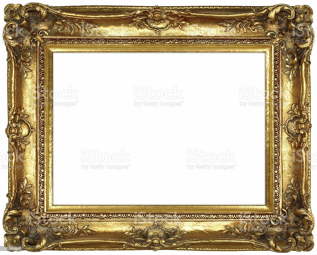 antique ornate gilt gold frame royalty free stock photo