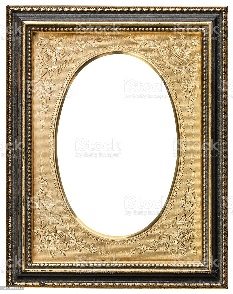 Antique Ornate Gold Inlay Picture Frame With Clipping Path stock photo