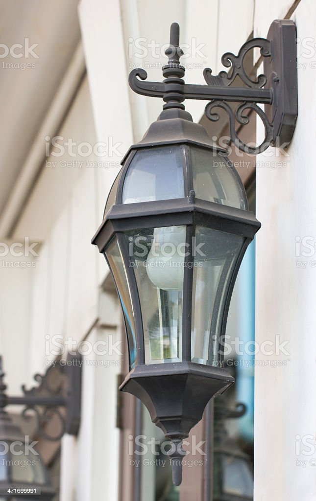 Antique outdoor wall lamp. stock photo