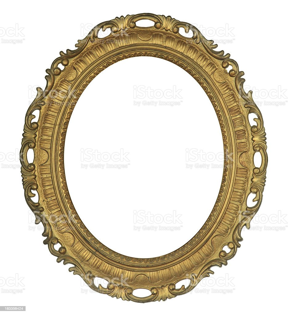 Antique Oval Gold Frame stock photo