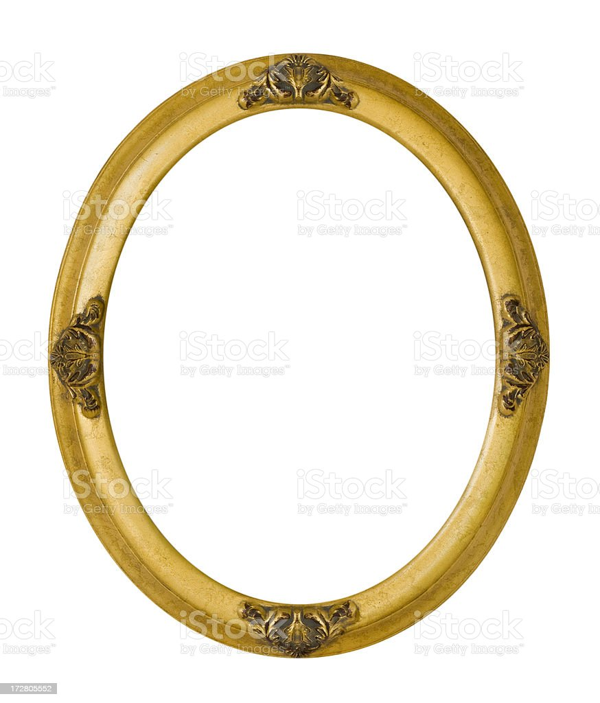 Antique Oval Gold Picture Frame royalty-free stock photo