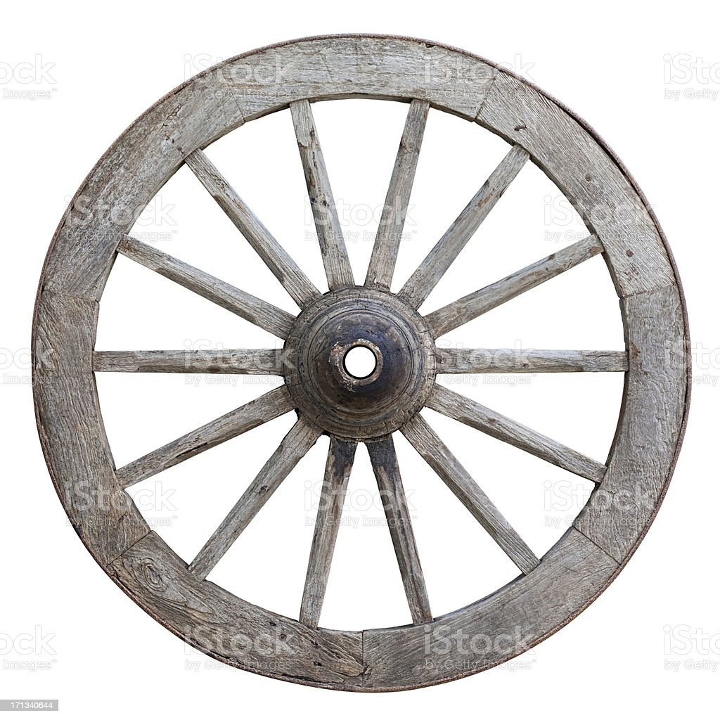 Antique ox-cart wooden wheel. stock photo
