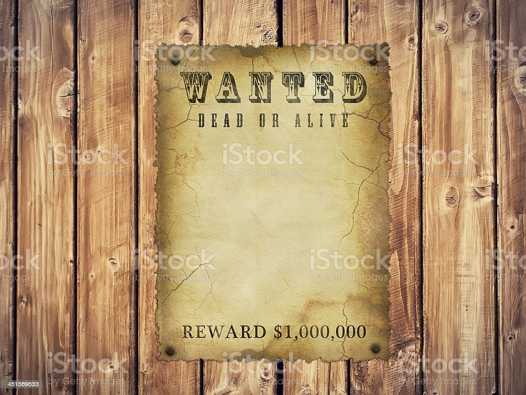 Antique page - wanted dead or alive. stock photo