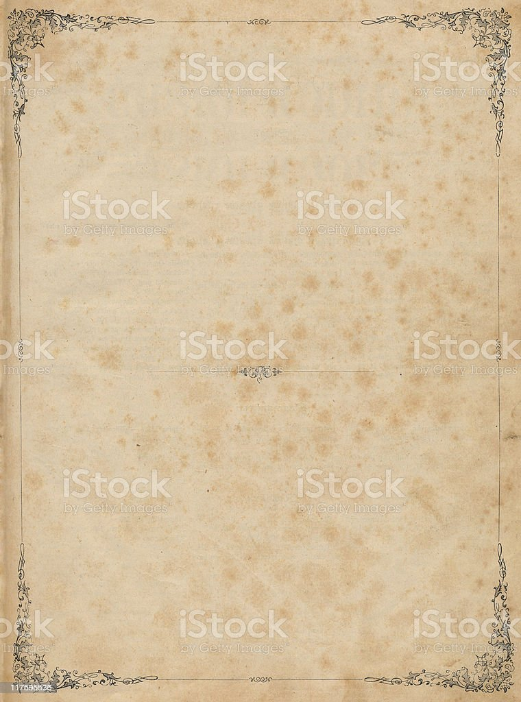 Antique Page with Floral Frame royalty-free stock photo