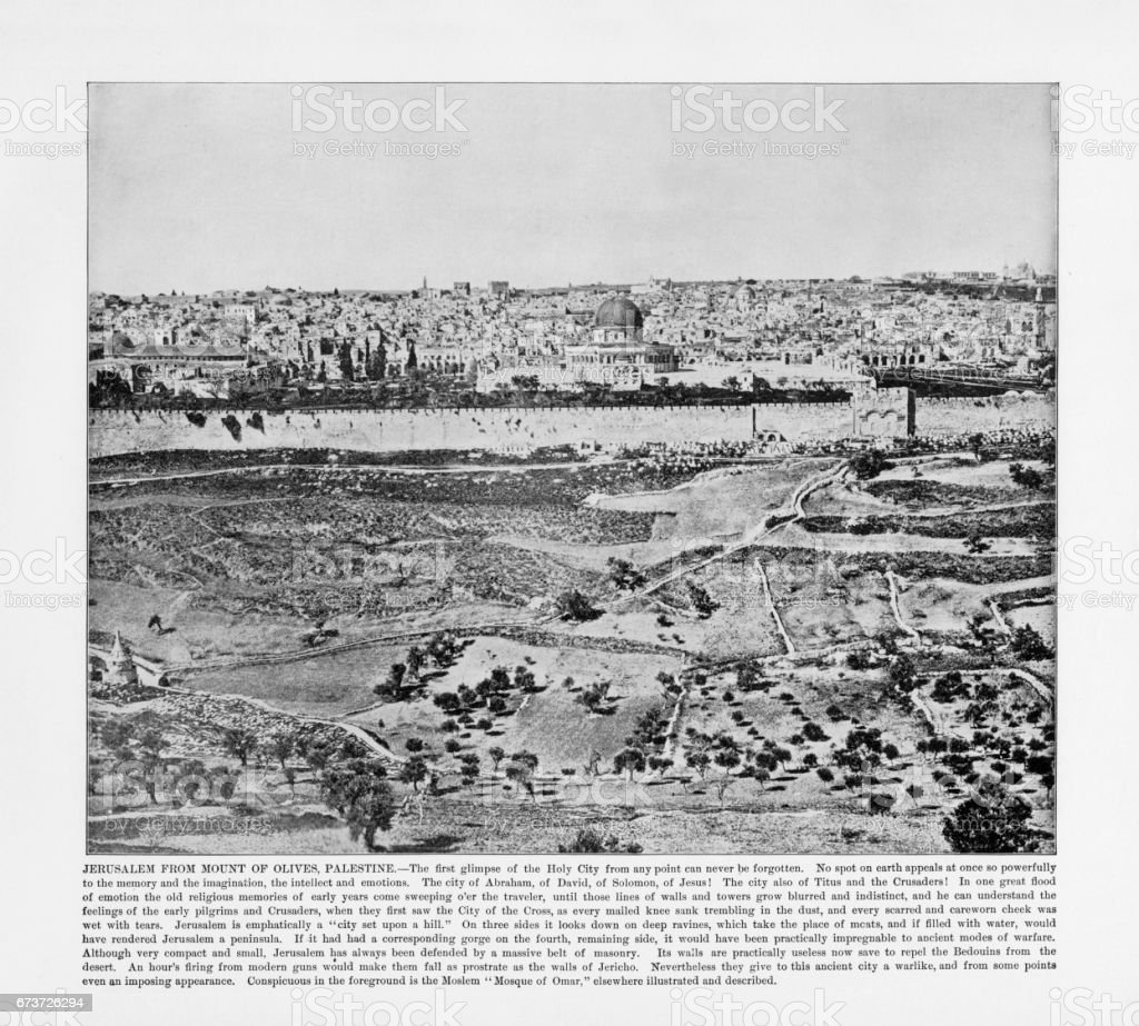 Antique Palestine Photograph: Jerusalem From Mount of Olives, Palestine, 1893 stock photo