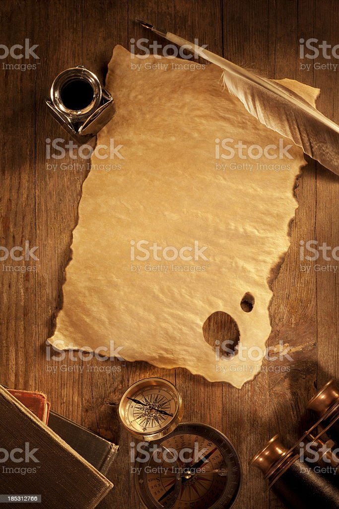 Antique Paper on a Wooden Desk royalty-free stock photo