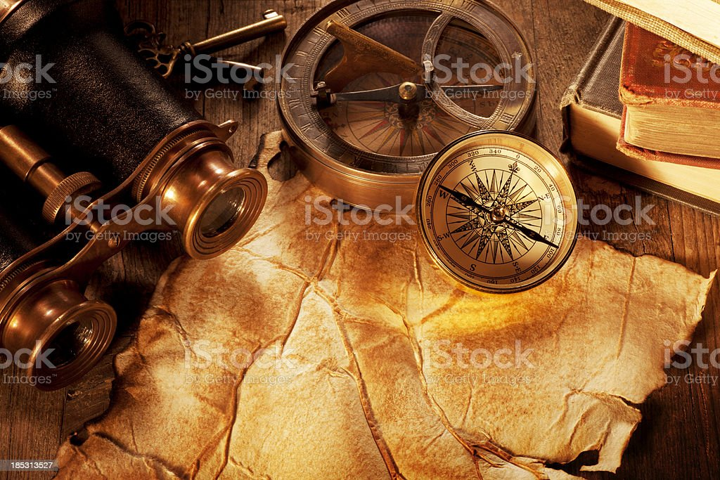 Antique Paper on a Wooden Desk stock photo