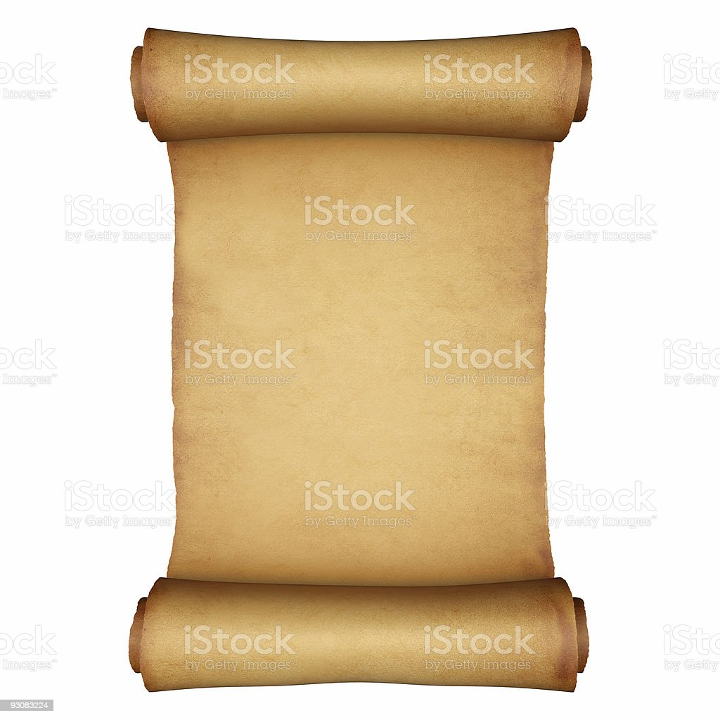 Antique paper scroll on white background stock photo