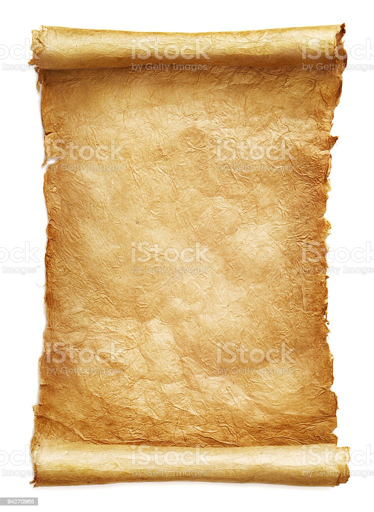 Antique paper scroll stock photo
