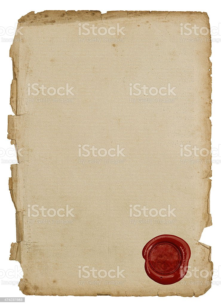 antique paper sheet with red wax seal stock photo