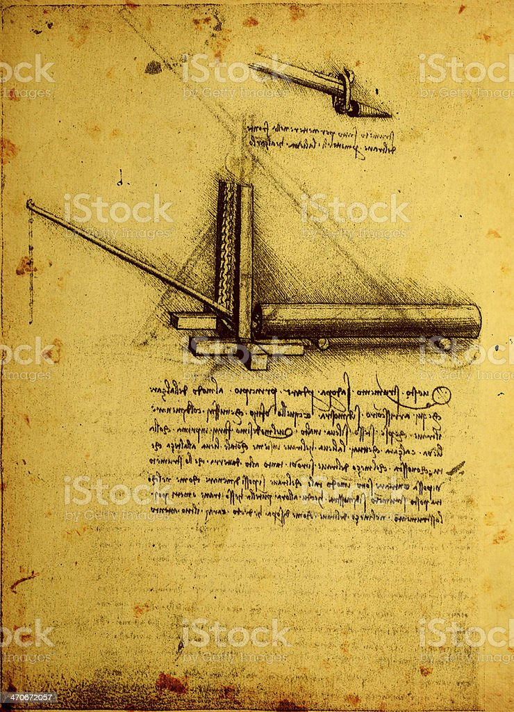 Antique paper with engineering drawing stock photo