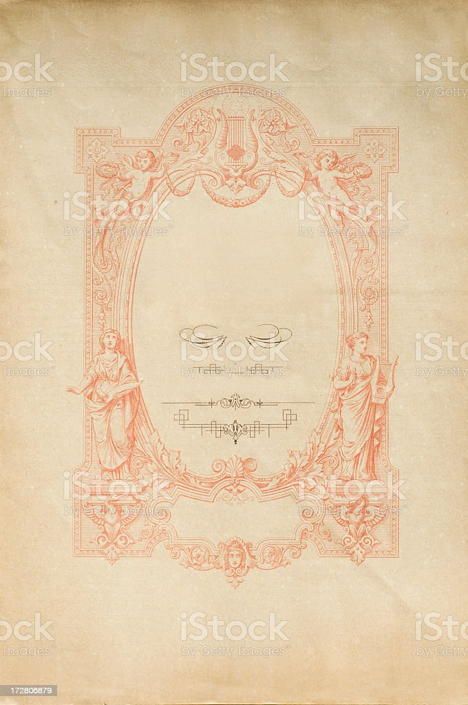 Antique paper with frame and scroll royalty-free stock photo