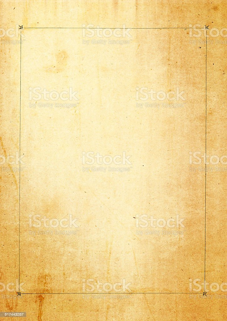 Antique paper with thin black border stock photo