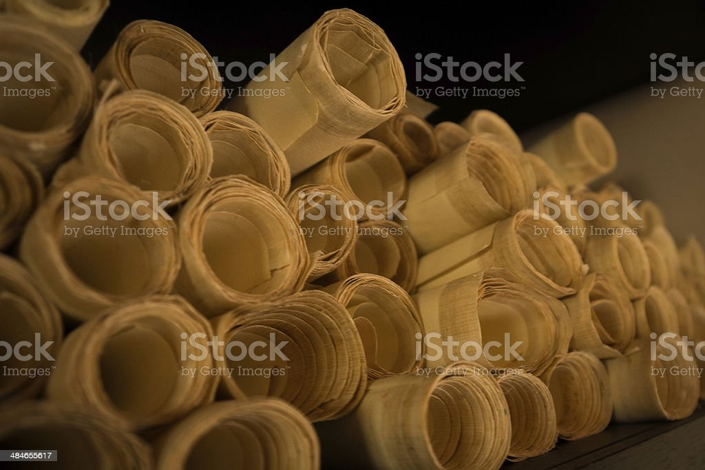 Antique Papyrus rolls stock photo