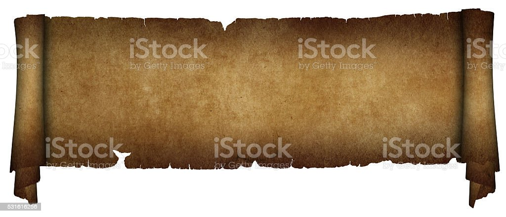 Antique parchment scroll on white background. stock photo