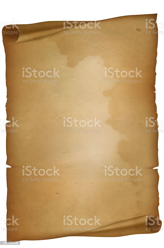 Antique parchment scroll. stock photo