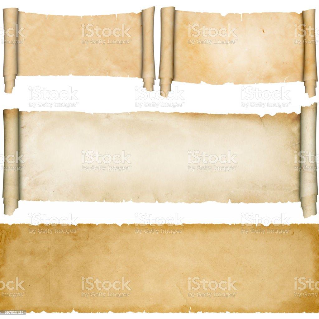 Antique parchment scrolls set. stock photo