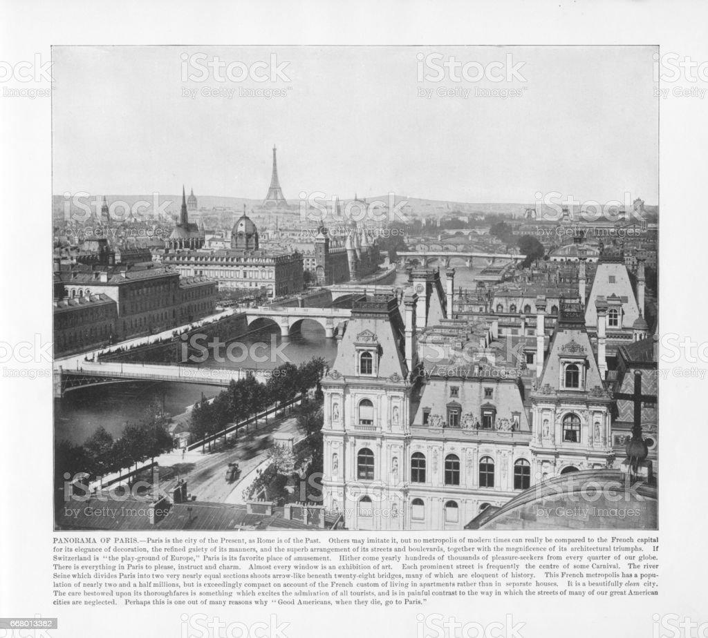 Antique Paris Photograph: Panorama of Paris, 1893 stock photo