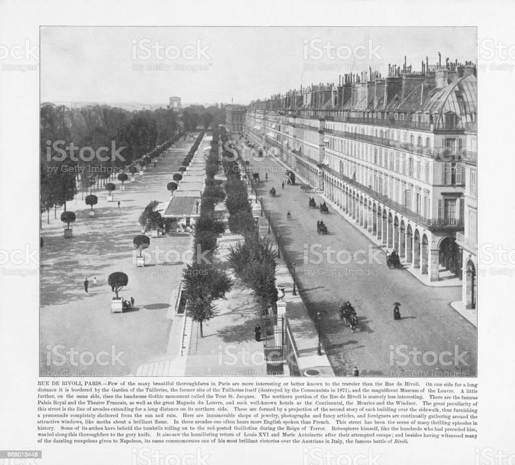Antique Paris Photograph: Rue De Rivoli, 1893 stock photo