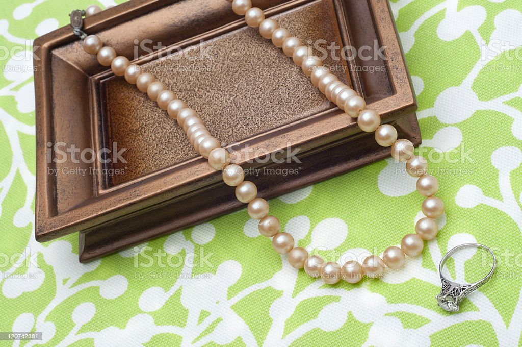 Antique Pearls and Diamond Engagement Ring royalty-free stock photo