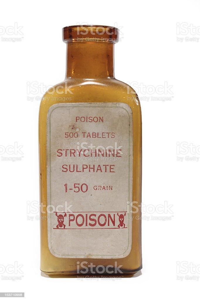 Antique pharmacy bottle of strychnine poison on white background stock photo