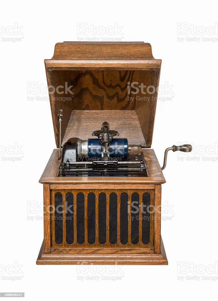 Antique Phonograph Isolated on White stock photo